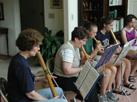 Members of the American Pipers Guild rehearse in preparation for an international workshop in Mechelen, Belgium